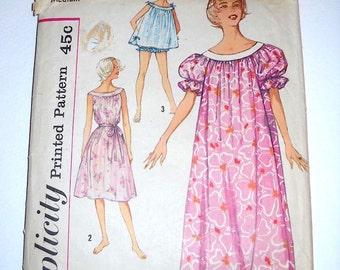 Vintage Simplicity 2566 Misses' Muu Muu, Nightgown in Two Lengths and Panties Sewing Pattern