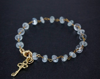 Gold Blue Aquamarine Bracelet - March Birthstone Bracelet - 14K GF