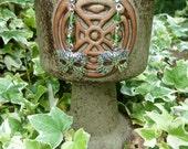 Green Man Mask Earrings, handmade, nature spirit, green