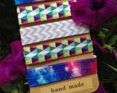 5 Pack Galaxy Geometry Inspired Knot Hair Ties Fold Over Elastic Stretch Bracelet by Whimsical Elements