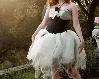 Ivory and Black Tutu - Adult Tutu - Women's One Size - Gothic Lolita - Burlesque