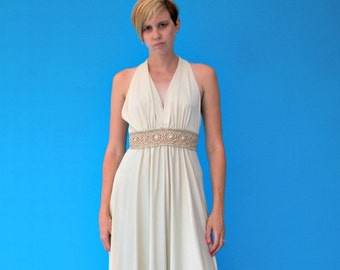 Vintage 1970s Roman Goddess Hollywood Cruise Wedding Formal Dress