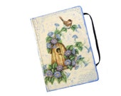 Shabby Journal with decoupage of birdhouse and flowers in provencal colors