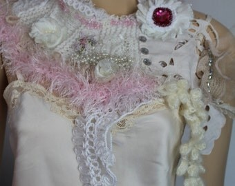 White Ivory Pink  Hand Knit Crochet Embroidered Boho Shabby Chic Scarf  - Textile Collage -Wearable Art - OOAK