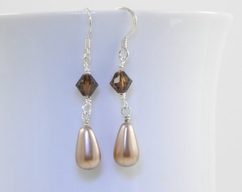 Smoked Topaz Crystal and Taupe Teardrop Earrings with Sterling Silver Ear Wires