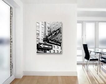 New York City Street Sign, Large Canvas Art- Black White Wall Art Canvas, Madison Avenue, 34th Street Sign