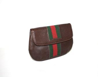 GUCCI Vintage Clutch Handbag Brown Leather Web - AUTHENTIC -