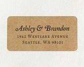 Custom Printed Return Address Labels - Design #17, Elegant Address Labels, Brown Kraft Labels, Rustic Wedding