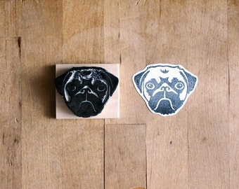 Pug Face Hand Carved Rubber Stamp