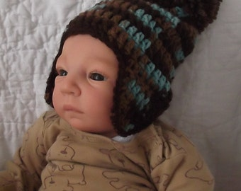 New Hat for Winter...Camouflage Cap with Pom Topper....Browns & Aqua..Earflap Hat...Newborn up to 3 Month.... Boy or Girl... READY  to  SHIP