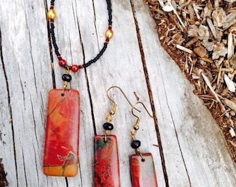 Multi-color Picasso Jasper Stone Pendant Necklace and Earrings