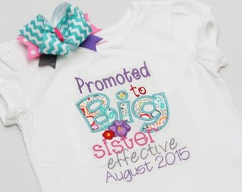 Promoted to Big Sister Shirt - Big Sister Shirt and Coordinating Hairbow