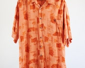 SALE - Vintage Orange Tropical  Island Style Tiki Bar Party Shirt - Mens Size Large