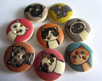 Buttons Cats Natural Wooden Cartoon Cats 2 Hole Buttons 15mm