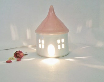 Garden Fairy House/ Night Light - with a  Pink Roof - No Chimney - Going Green, Eco Friendly -- Medium Size - Ready to Ship