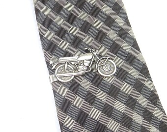 New Motorcycle Tie Bar- Motorcycle Tie Clip- Sterling Silver Ox Finish or Antiqued Brass
