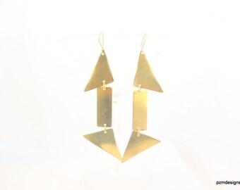 Minimalist triangle earrings, shiny brass geometric earrings, gold brass dangles, gift for her