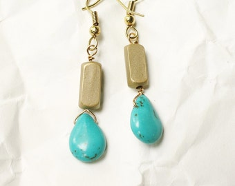 Turquoise and Gold Teardrop Lightweight Earrings, Bella Boho
