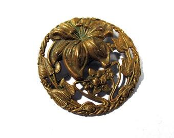 Art Deco Flower Pin VINTAGE Brass Openwork Art Nouveau Pin Brooch Flowers Lily Brass Brooch Pin Floral Ready to Wear Vintage Jewelry (J7)