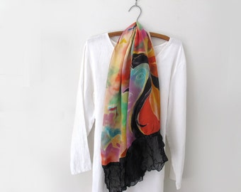 Silk Scarf Wearable Art Hand-Painted Crepe de Chine