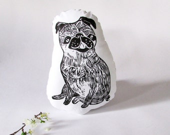 Pug Shaped Animal Pillow. Dog Plushie. Hand Woodblock Printed. Choose Any Color. Made To Order.