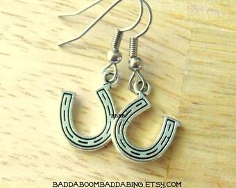 Horse Shoe Charm Dangle Earrings - Surgical Steel French Hooks