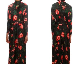 Vintage Black Multicolor Floral Leaf Print Shirred Neckline Long A-Line Flared Dress w/ Matching Belt