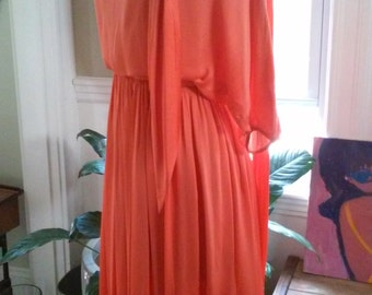 70s DONALD BROOKS--Coral Silk Chiffon Dress--Dolman Sleeves--Pussy Bow Neckline--Keyhole in Back