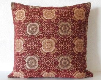 Stroheim Raphael's - Medallion Scarlet - burgundy suzani medallion decorative pillow cover