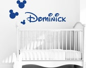 Mickey Mouse style PERSONALIZED BABY NAME Wall decal interior decor by Decals Murals