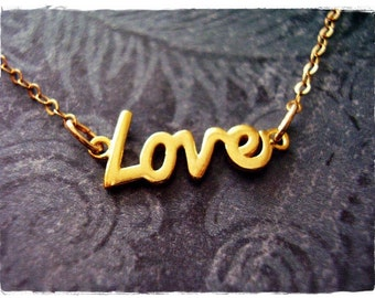 Gold Love Necklace - Gold Dipped Love Charm on a Delicate 14kt Gold Filled Cable Chain or Charm Only
