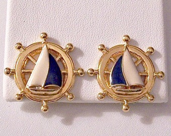 Avon Sail Boat Ships Wheel Clip On Earrings Gold Tone Vintage Round Extended Round Nail Head Accents Open Rib Spokes Textured Backs