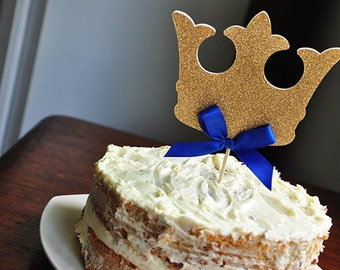 King Crown Cake Topper.  Handcrafted in 2-3 Business Days.  Royal Prince Baby Shower Decorations.