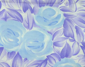 Print Fashion Fabric, Merry Mary, Watercolor, Blue Roses, Purple Leaves, Lightweight Polyester, half yard, 4-oz, B3