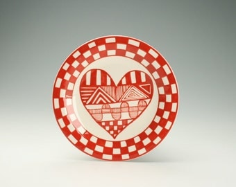 """Red and White Heart Plate Checker Board 8-1/4"""" Table Dinnerware"""