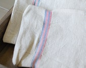 GRAIN SACK Zippered Pouch - Vintage grain sack bag with French Stripes - Thin Blue + Red Stripes