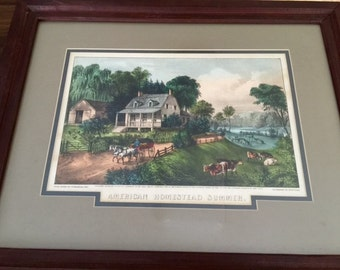 cURRIER  iVES oRIGINAL Lithograph AMERICAN HOMESTEAD SUMMER 1868 Top Fifty!! Hand Colored Framed
