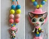 Sheriff Callie clay pendant necklace, chunky necklace, Sheriff Callie little girl necklace, children jewelry, bubblegum Sheriff Callie