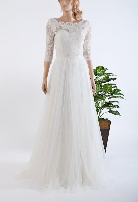 Wedding Dresses 3 4 Sleeves Lace : Lace wedding dress with sleeve bolero by eldesignstudio