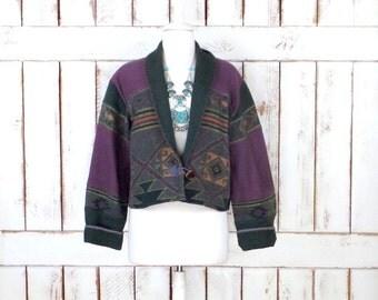 Vintage green/purple  woven cotton Southwestern cropped Tribal print blazer jacket/Flashback