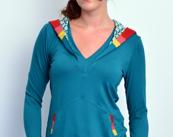 jersey hoodie - turquoise - stripes