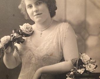 Antique Photo Gatsby Era Photo - Woman with Rose - 1920's - Twenties