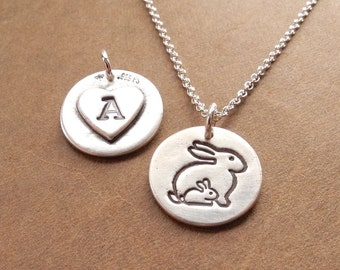 Personalized Small Mother and Baby Rabbit Necklace, New Mom Necklace, Rabbit Monogram, Fine Silver, Sterling Silver Chain, Made To Order