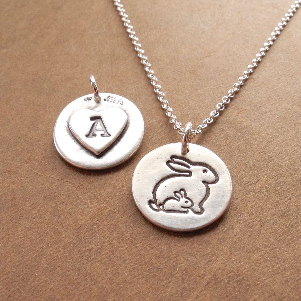 personalized small mother and baby rabbit necklace new mom. Black Bedroom Furniture Sets. Home Design Ideas