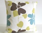 20 Inch Decorative Pillow Cover, 20x20 Throw Pillow, Cushion Cover, Pillowcase, Pillow Sham, Scandinavian Pillow - Nordic Bloom Pistachio