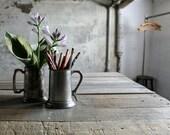 RESERVED - 2 Vintage Metal Steins / Mugs / Vases / Catch Alls