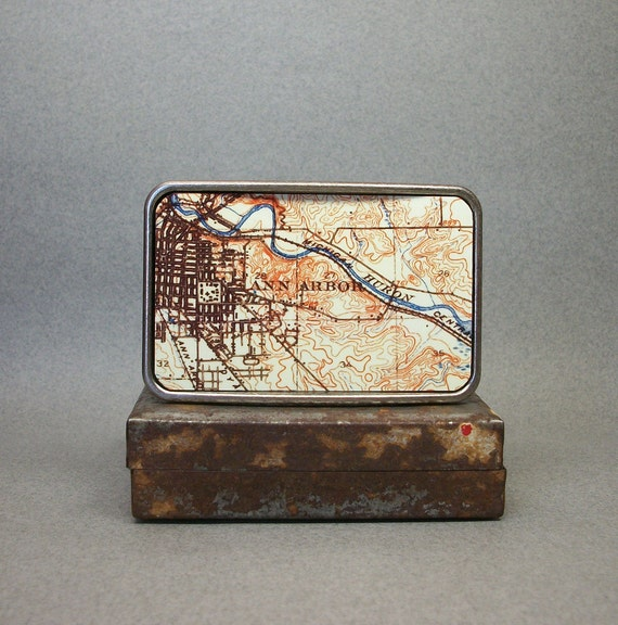 Belt Buckle Vintage Map Ann Arbor Michigan Cool Gift for Men or Women Groomsmen Bridesmaid