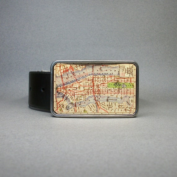 Belt Buckle Vintage Map Manhattan New York City NYC Cool Gift for Men or Women