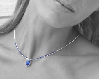 Lapis Lazuli Dainty Necklace, Silver Seed Beads Thin Delicate Necklace, Simple Everyday Blue Lapis Necklace, Minimalist Gemstone Necklace