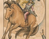 """Valkyrie riding her horse over a battlefield with raven overhead; ruins, braid, swords and spears - Art Reproduction (Print) - """"Valkyrie"""""""